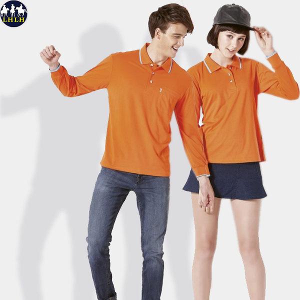 運動polo衫 慢跑排汗女裝長袖 橘色桔色