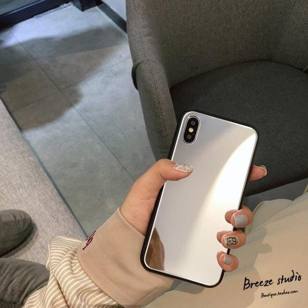 補妝自拍鏡子 蘋果X手機殼新款iPhone7/8plus鏡面玻璃殼6s潮男女
