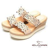 ★2018春夏新品★【CUMAR】舒適底台-簍空設計真皮厚台涼鞋(米色)
