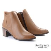 ★2019秋冬★Keeley Ann極簡魅力 基本款尖頭鬆緊粗跟短靴(棕色)