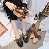 平底單鞋女蝴蝶結方頭奶奶鞋復古百搭韓版軟底豆豆鞋  魔法鞋櫃