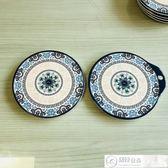 隔熱墊 五和密胺餐具青花圓熱墊帶柄隔熱墊餐桌墊碗墊盤墊防燙墊5只裝 居優佳品