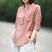 棉麻上衣 復古文藝薄款亞麻V領襯衫女夏季寬鬆防曬上衣中袖棉麻T恤 韓流時裳