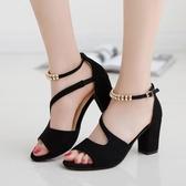 【免運】鞋女新品夏季新款一字扣中跟粗跟韓版高跟鞋性感魚嘴鞋后包跟鞋