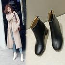 大尺碼女鞋  2019新款歐美時尚帥氣方頭中跟短靴~3色