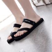 新款韓版涼拖鞋女夏時尚外穿平跟防滑情侶平底沙灘人字拖