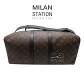 【台中米蘭站】LV M56711黑邊老花 KEEPALL 45CM 兩用旅行袋