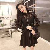 VK旗艦店 韓系蕾絲拼接皮裙雙層荷葉袖拉鏈長袖洋裝