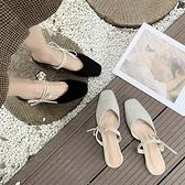 半拖鞋 包頭半拖鞋女涼鞋2020新款百搭網紅懶人瑪麗珍仙女風中粗跟奶奶鞋 風尚3C