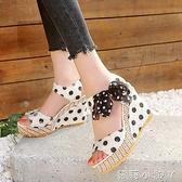 毛邊圓點女鞋新款包郵夏季露趾涼鞋女坡跟高跟鞋蝴蝶結中青年潮鞋 蘿莉新品