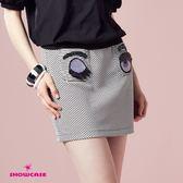 【SHOWCASE】俏皮亮片眼睛條紋彈性窄裙(黑)