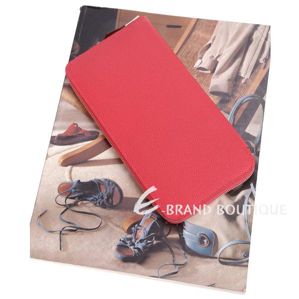 HERMES Silk In EPSOM小牛皮拉鍊絲巾長夾(紅色) 1620782-54