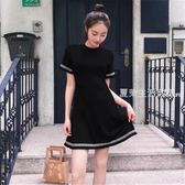 短袖洋裝 夏季新款韓國風圓領修身顯瘦洋裝短袖中長百搭針織A字裙子·夏茉生活