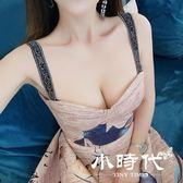 無袖洋裝 歐洲站文藝風抹胸吊帶禮服裙涂鴉復古印花大擺長裙連身裙
