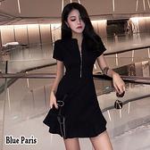【藍色巴黎】 韓系 纯色開襟拉鍊修身短袖連身裙 洋裝【28699】