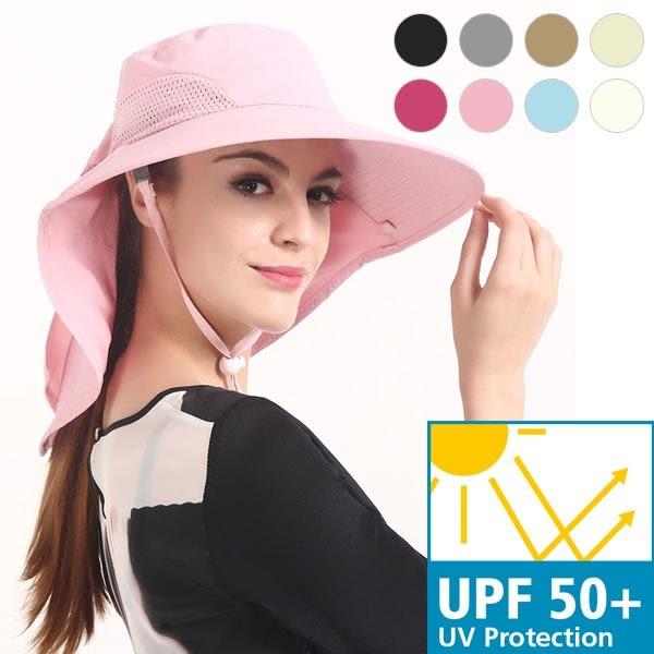 遮陽帽 女生夏天戶外防紫外線遮陽大帽沿沙灘帽子 透氣速乾防水遮陽帽