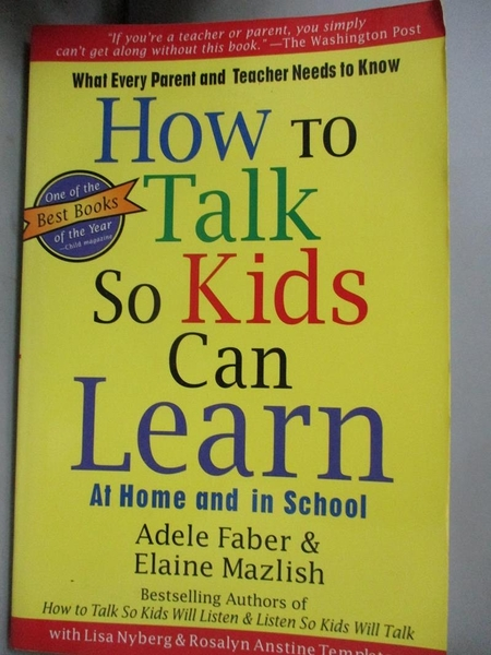 【書寶二手書T7/原文小說_MAE】How to Talk So Kids Can Learn: What Every