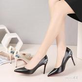 細跟單鞋女秋季新款百搭尖頭高跟鞋淺口職業大碼女鞋2020春 LR17133【Sweet家居】