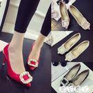 婚鞋 單鞋紅色婚鞋尖頭高跟鞋細跟水鑽大小碼流行氣質女鞋新品
