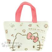 〔小禮堂〕Hello Kitty 棉質便當提袋《米灰.粉把手.大臉.房子.公雞.多圖》 4973307-38259