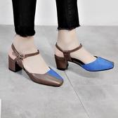 高跟鞋 夏天新款粗跟高跟包頭小碼女涼鞋31 32 33大碼41-43 44中空女鞋子【全館免運】