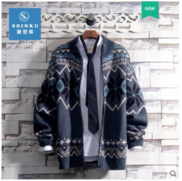 《澤米》Soinku/潮型庫英倫拼色長袖襯衫日系男修身開衫新款學院風針織衫毛衣外套