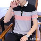 夏季男士短袖t恤翻領polo衫韓版條紋體恤衣服男裝新款潮zt1237 【黑色妹妹】