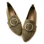 amai親膚皮革-時尚霧面圓環尖頭樂福鞋 綠