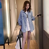牛仔外套女春韓版寬鬆襯衫風衣中長款小香風百搭上衣 - 風尚3C