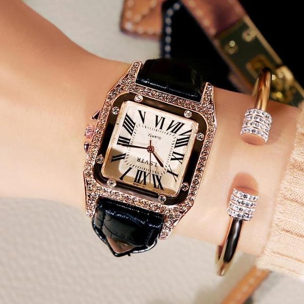 女士手錶防水時尚款2020新款韓版潮休閒簡約流水鉆大氣手錶女學生 後街五號