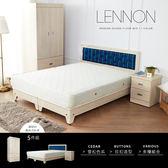 雙人床組 LENNON藍儂田園海洋風5尺雙人房間組/5件式(床頭+床底+二抽櫃+衣櫃+床墊)/H&D 東稻家居