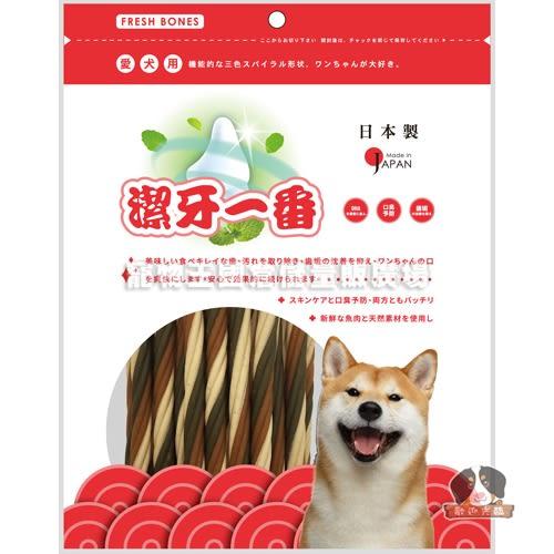 【寵物王國】日本FRESH BONES-潔牙一番(鮭魚)三色螺旋棒/M(230g)