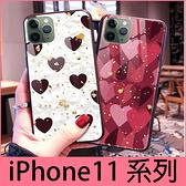 【萌萌噠】iPhone 11 Pro Max 奢華時尚 閃粉鉑金 心心豹紋  iPhone11 全包軟邊 鋼化玻璃背板手機殼