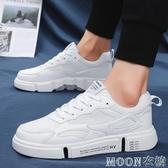 運動鞋 夏季男鞋子青少年網面初中學生透氣百搭夏天運動白色帆布板鞋潮鞋 moon衣櫥