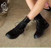 《SD0293》時尚經典街頭潮流軟皮綁帶中筒馬丁靴 OrangeBear