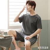 男士睡衣 夏短袖棉質夏季短褲青年薄款夏天可外穿家居服套裝 BT5001『寶貝兒童裝』
