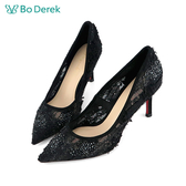 Bo Derek 蕾絲透膚貼鑽高跟鞋-黑色