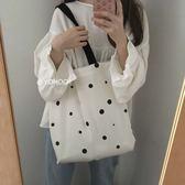 (全館一件免運費)DE Shop~(M-701)可愛點點百搭單肩帆布包購物袋手提包