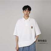 夏季學生寬鬆翻領POLO衫簡約小熊印花短袖男女T恤【聚物優品】