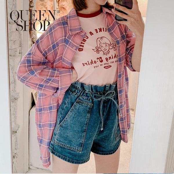 Queen Shop【01023396】亮色格紋長袖襯衫外套 兩色售*現+預*