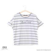 【INI】隨性迷人、波浪花樣袖口棉質條紋上衣.白色