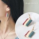 耳環《可改耳夾式》《可改S925銀針》復古風三色彩條滴油耳勾 (SRA0118) AngelNaNa