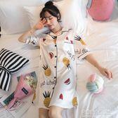 性感睡裙女夏天冰絲學生中長短袖絲綢襯衫夏季薄款睡衣春秋大碼 polygirl