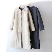 冬季棉服女中長款加厚新款冬天棉衣外套復古夾棉棉麻盤扣棉襖