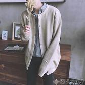 針織外套秋季日系原宿風長袖素色針織衫開衫毛衣男韓版潮流寬鬆情侶外套衣 潮人女鞋