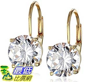 [美國直購] Platinum or 14k Gold Plated Sterling Silver Round-Cut Cubic Zirconia Leverback Earrings (3 cttw) 耳環