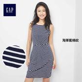 Gap女裝 無袖扭花正面圓領洋裝 297698-海軍藍條紋