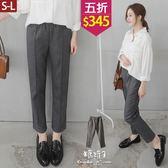 【五折價$345】糖罐子車線造型口袋縮腰毛料長褲→深灰 現貨(S-L)【KK6294】