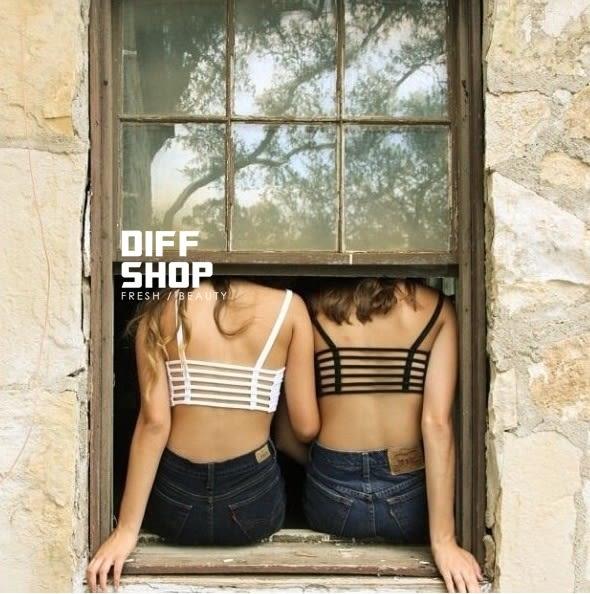 【DIFF】歐美性感露背短款莫代爾背心 純棉美背帶胸墊小可愛背心 舒適好穿 【V42】