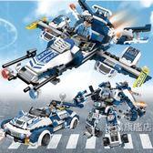 組裝積木積木兼容樂高拼裝警察汽車男孩子組裝警車機器人拼插飛機玩具